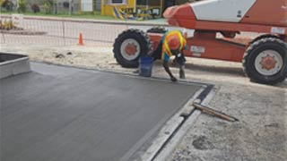 Concrete mixed poured at the site